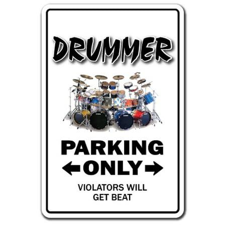 "DRUMMER Decal drum set instrument music sticks cymbals hi hat | Indoor/Outdoor | 12"" Tall"