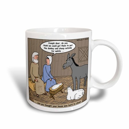3dRose Rich Diesslin - Nativity Animals, Ceramic Mug, 15-ounce (Nativity Animals)
