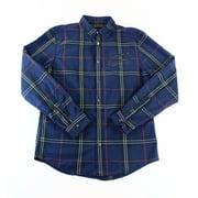 INC NEW Navy Blue Red Mens Size 2XL Button-Front Plaid Zip-Pocket Shirt