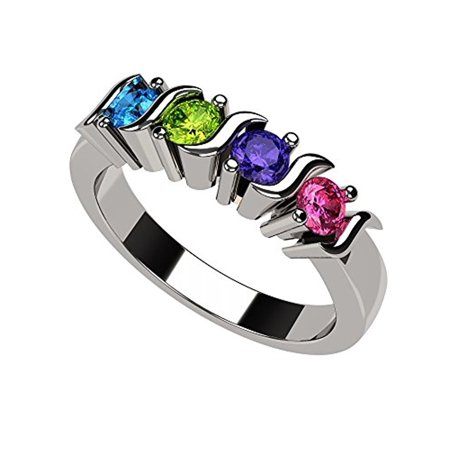 Swarovski Silver Toe Ring - Family Jewelry Mother Ring S-Bar Design 1 to 6 Swarovski Simulated Birthstones 925 Sterling Silver Size 4