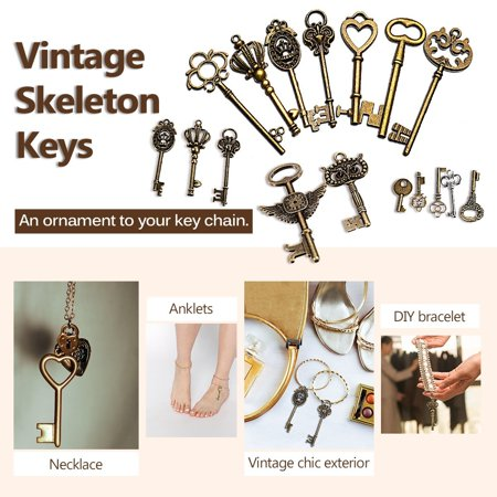 Crafted Jewelry (Handmade Accessories 48Pcs DIY Craft Vintage Metal Bronze Skeleton Key Pendant Necklace Bracelet Jewelry Gift )