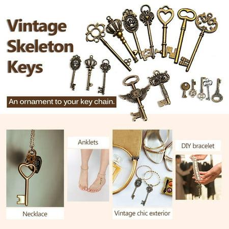Handmade Accessories 48Pcs DIY Craft Vintage Metal Bronze Skeleton Key Pendant Necklace Bracelet Jewelry Gift Hand Accessories Jewelry