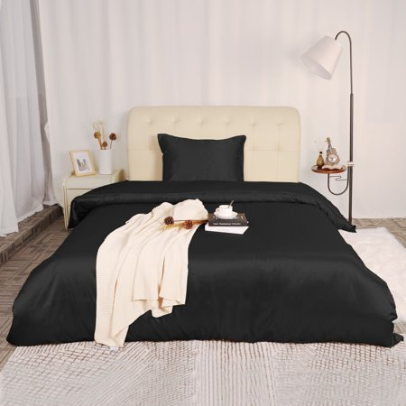 Silk Satin 2-Piece Bedding Duvet Cover and Pillow Sham Set Black Twin Size