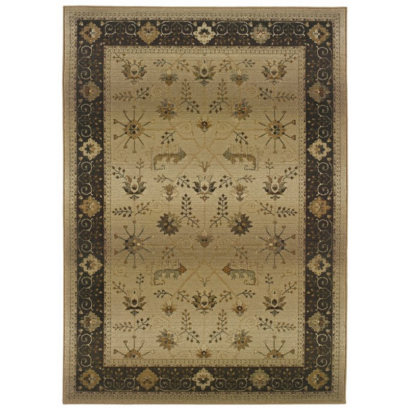 "Oriental Weavers Genesis 5'3"" x 7'6"" Machine Woven Rug in Beige"