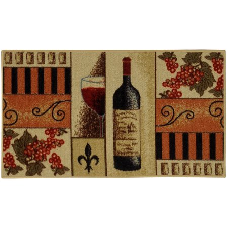 Rugnur Cucina French Wine Gl Cream Orange Kitchen Area Rug