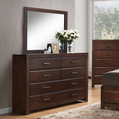 - Acme Furniture Oberreit Walnut Dresser with Eight Drawers