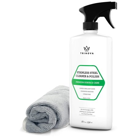 TriNova Stainless Steel Cleaner and Polish for Commercial Refrigerators with Microfiber Cleaning Cloth. Cleaning Spray for Appliances, Fridge, Microwave Oven, Kitchen.