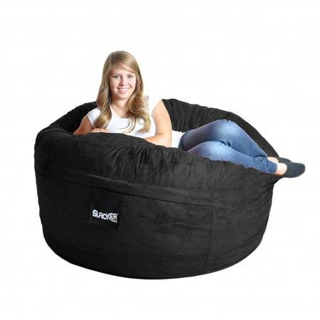 Slacker Sack Black Microfiber And Foam Bean Bag Chair 5 Round