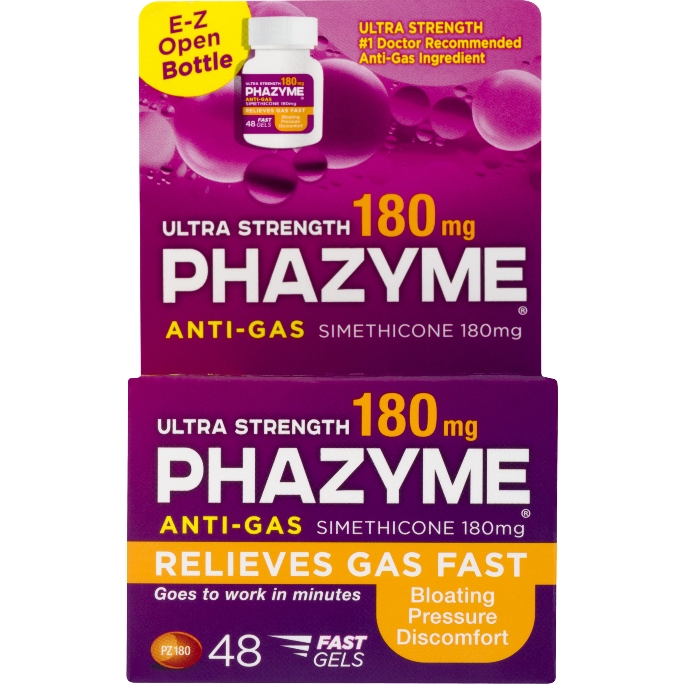 Phazyme Ultra Strength Gas and Bloating Relief, 180 mg, 48 FAST GELS