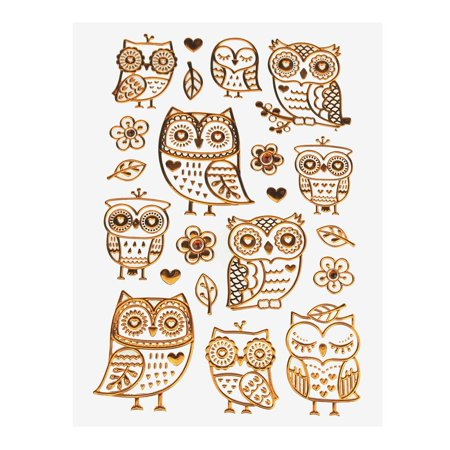 Boho Owl Foil Stickers, Copper, 21-Count - Copper Stickers