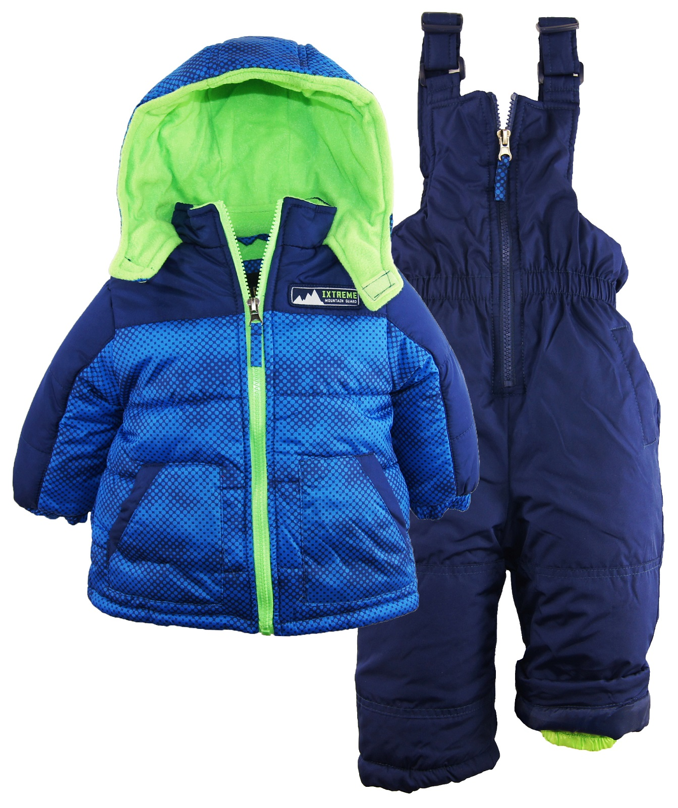 2ec3704b24 iXtreme Baby Boys  Colorblock Two Piece Snowsuit Puffer Jacket Ski Bib Pant  Set