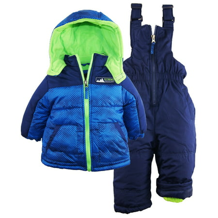 f35dfa7634b2 iXtreme Baby Boys  Colorblock Two Piece Snowsuit Puffer Jacket Ski Bib Pant  Set