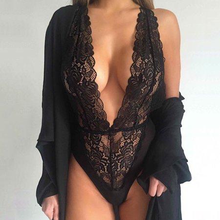 Women Black Perspective Erotic Lingerie V-neck Spandex Sexy Lingerie -
