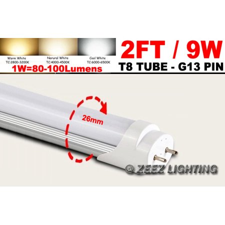 (ZEEZ Lighting - T8 2FT 9W Daylight Cool White G13 LED Tube Light Bulb 2 Feet Fluorescent Lamp Replacement - 1 Pack)