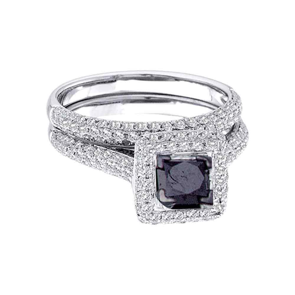 14k White Gold Womens Black Princess Diamond Solitaire Pa...