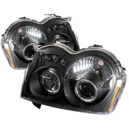 Spyder Jeep Grand Cherokee 05-07 Projector Headlights - LED Halo - LED ( Replaceable LEDs ) - Black - High H1 (Included) - Low 9006 (Not Included)
