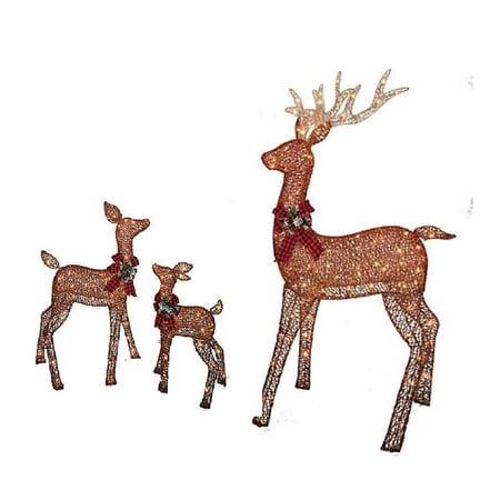 Christmas REINDEER FAMILY 3 piece SET, Includes Glittering Gold Buck, Doe and Baby Deer Patio Sculpture for your Outdoor Winter Holiday Lawn Decoration Yard Art ()