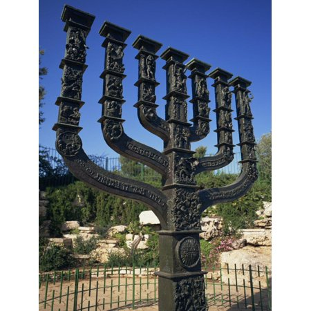 Sculpture of Menorah Near the Knesset in Jerusalem, Israel, Middle East Print Wall Art By Simanor Eitan ()