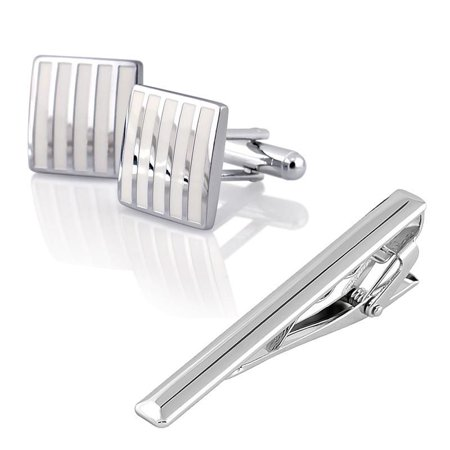 Zodaca Vintage Silver Mens Wedding Party Shirt Cufflinks Cuff Links+Tie Clip CLASP set