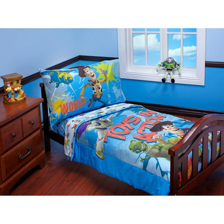 discontinued disney toy story toys in action 4 piece toddler bedding set - Toy Story Toddler Sheets