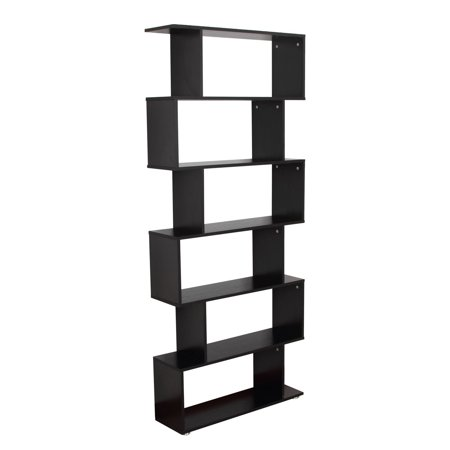 Wooden S Shape Bookcase 6 Shelves Storage Display Home Office Furniture - image 7 of 7