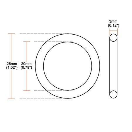 Silicone O-Rings, 20mm Inner Diameter, 26mm OD, 3mm Width, Seal Gasket 10pcs - image 2 de 3