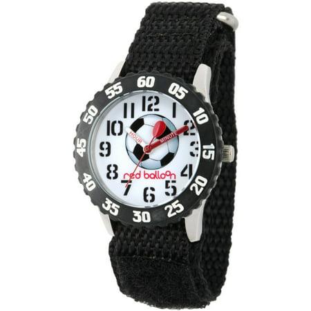 Black Bezel Watch - Red Balloon, Soccer Boys' Stainless Steel Time Teacher Watch, Black Bezel, Black Hook and Loop Nylon Strap