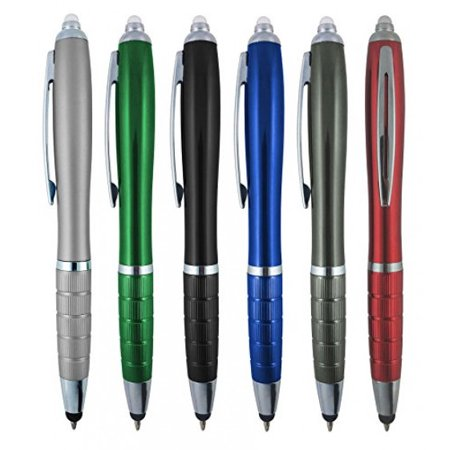Blacklight Pen (3-1 Twist Action Multi-Function, Ball point Black Ink Pen, Capacitive Stylus for Touchscreen Devices, LED Flashlight, Medical Pen Light,For Home,Work,Doctors, and Nurses By SyPen (Multi-Color 6-Pack))