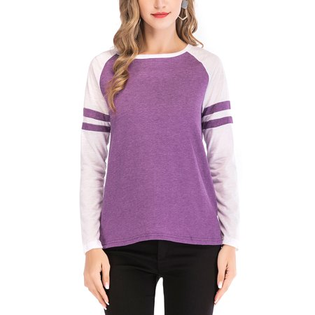 f91968fb Womens Plus Size Striped Shirt Round Neck Long Sleeve Patchwork Loose T-Shirt  Blouse Tops