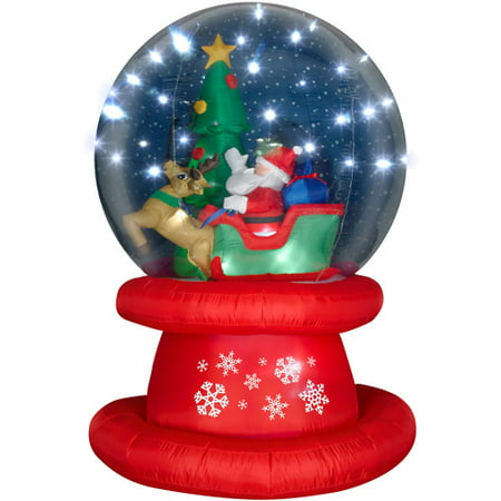 6' Tall Airblown Christmas Inflatable Snow Globe with Santa Sleigh Scene and Sparkle Lights