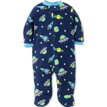 09fd1535df LTM Baby - Space Rocket Planet Fleece Boys Blanket Sleeper Footie-Blue-6  Months Baby Fleece Footed Pajamas For Boys - Walmart.com