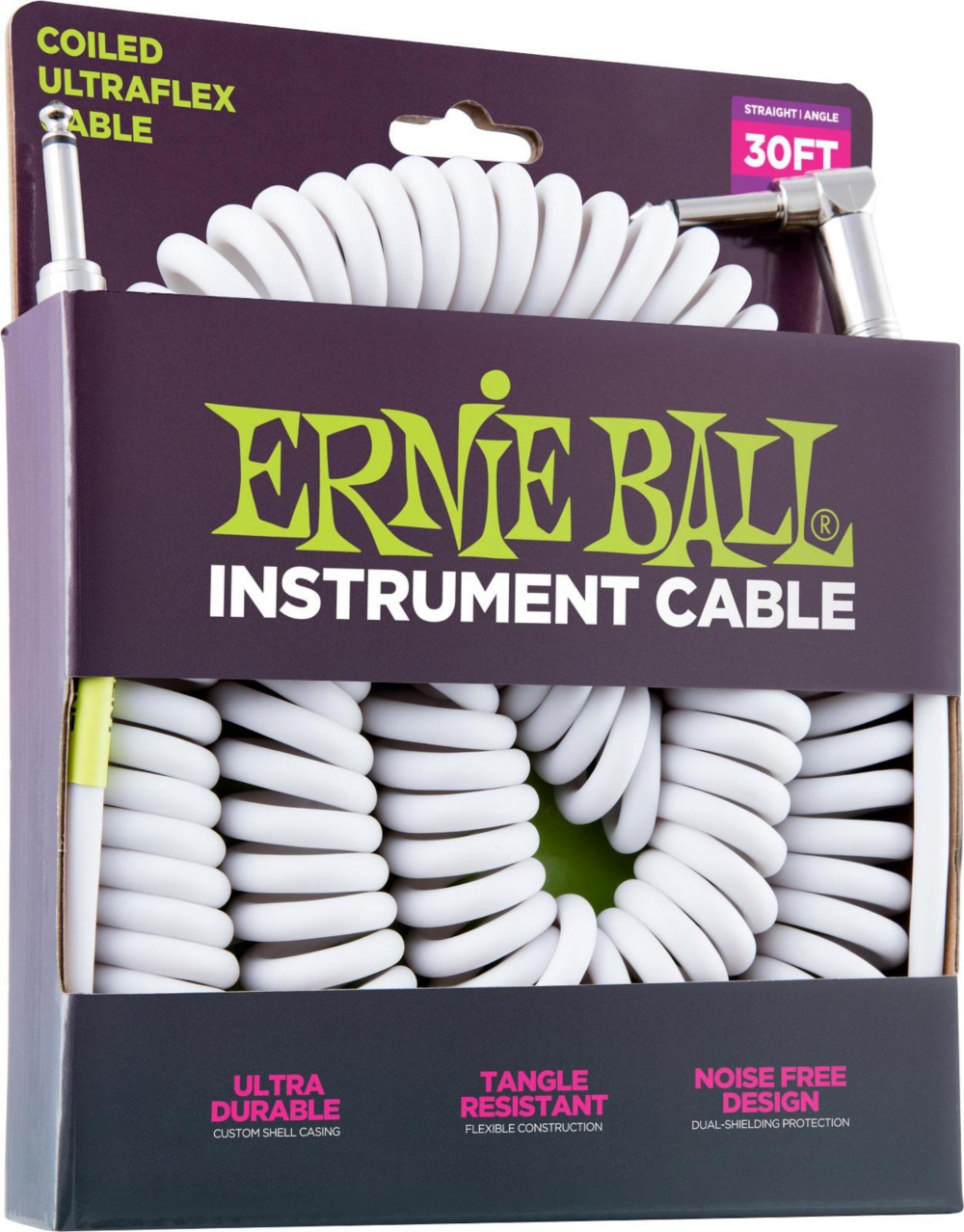 Coiled Ultraflex Straight-Angle Instrument Cable White by Ernie Ball