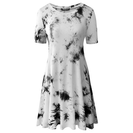Zero City Womens Short Sleeve Casual Tie Dye Cotton Swing Tunic T Shirt Dresses