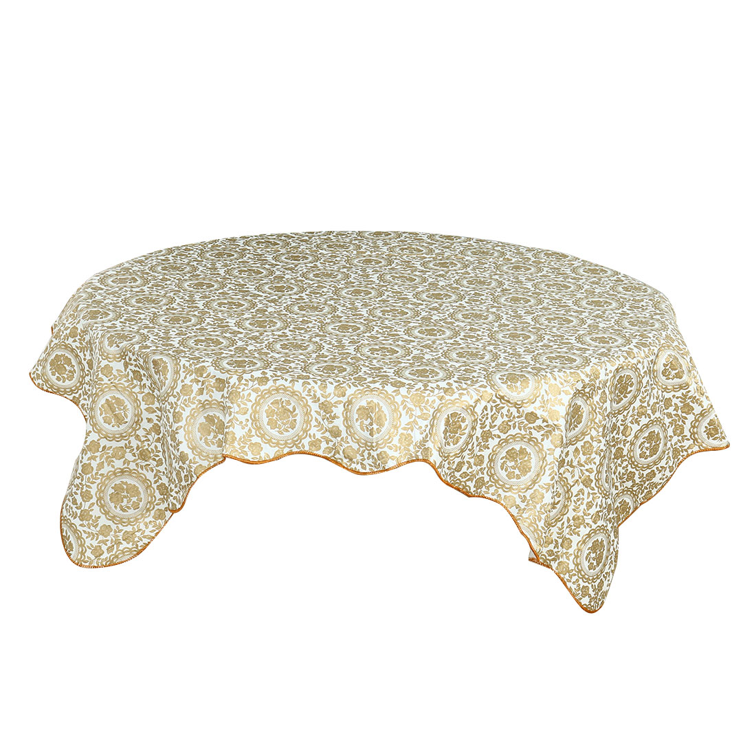 """PVC Tablecloth for Rectangular Table 53"""" x 53"""" Gold Tone Flower Oil Resistant - image 8 of 8"""