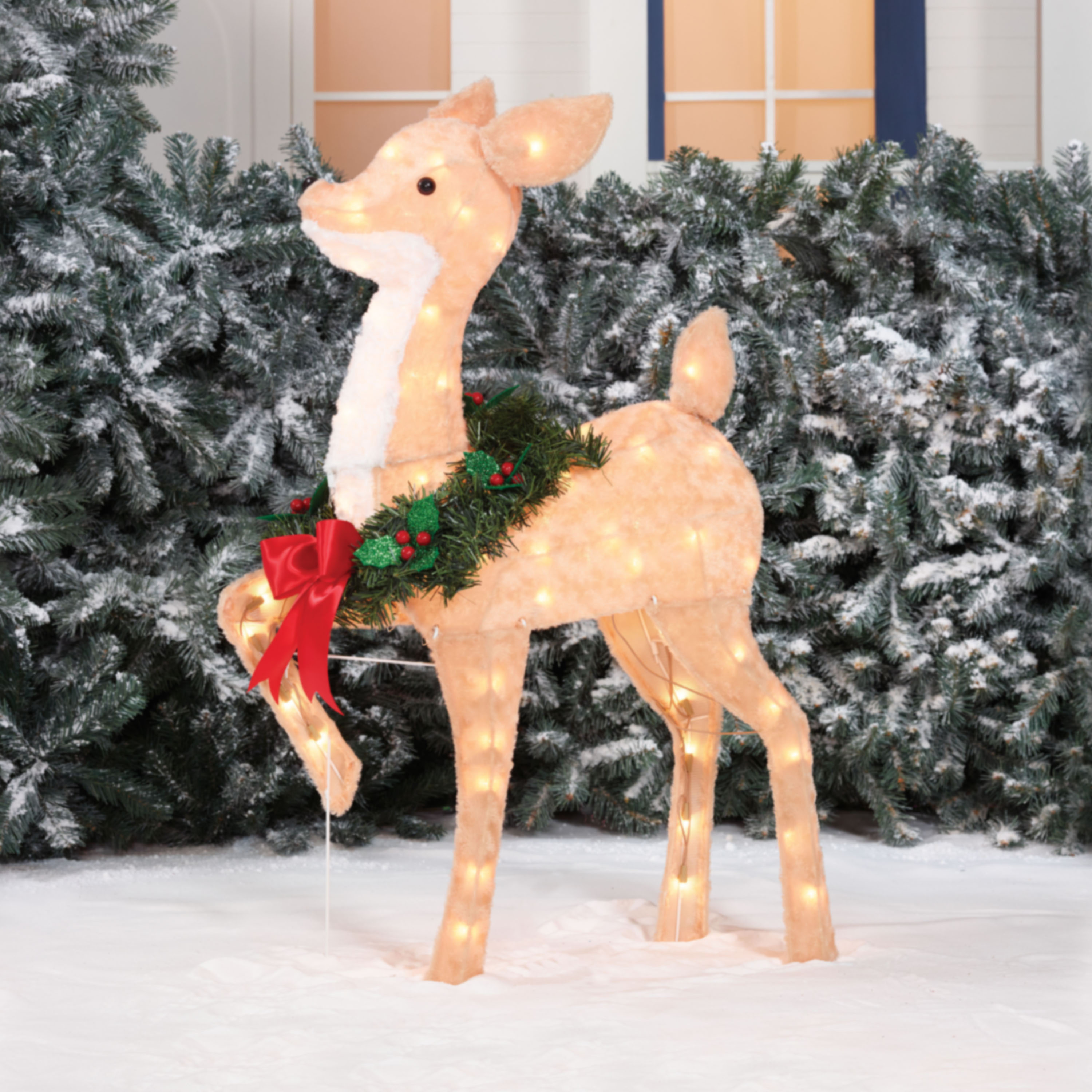 Holiday Time 36in Fawn Christmas Sculpture