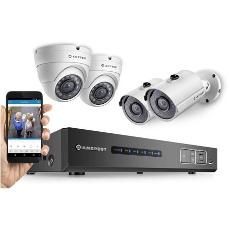 Amcrest Full HD 1080p 4-Channel Video Security System with Four 1920TVL 2.1MP Weatherproof IP66 Dome and Bullet Cameras, 65' IR LED Night Vision, 2TB HDD, HD Over Analog/BNC and Smartphone View