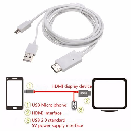 6.56FT Mobile High-Definition to High Definition Multimedia Interface HD TV Adapter Cable for Samsung Galaxy Tab 3 10.1 8.0-Inch Tablet (Samsung Tablet 4 Tv Connector)