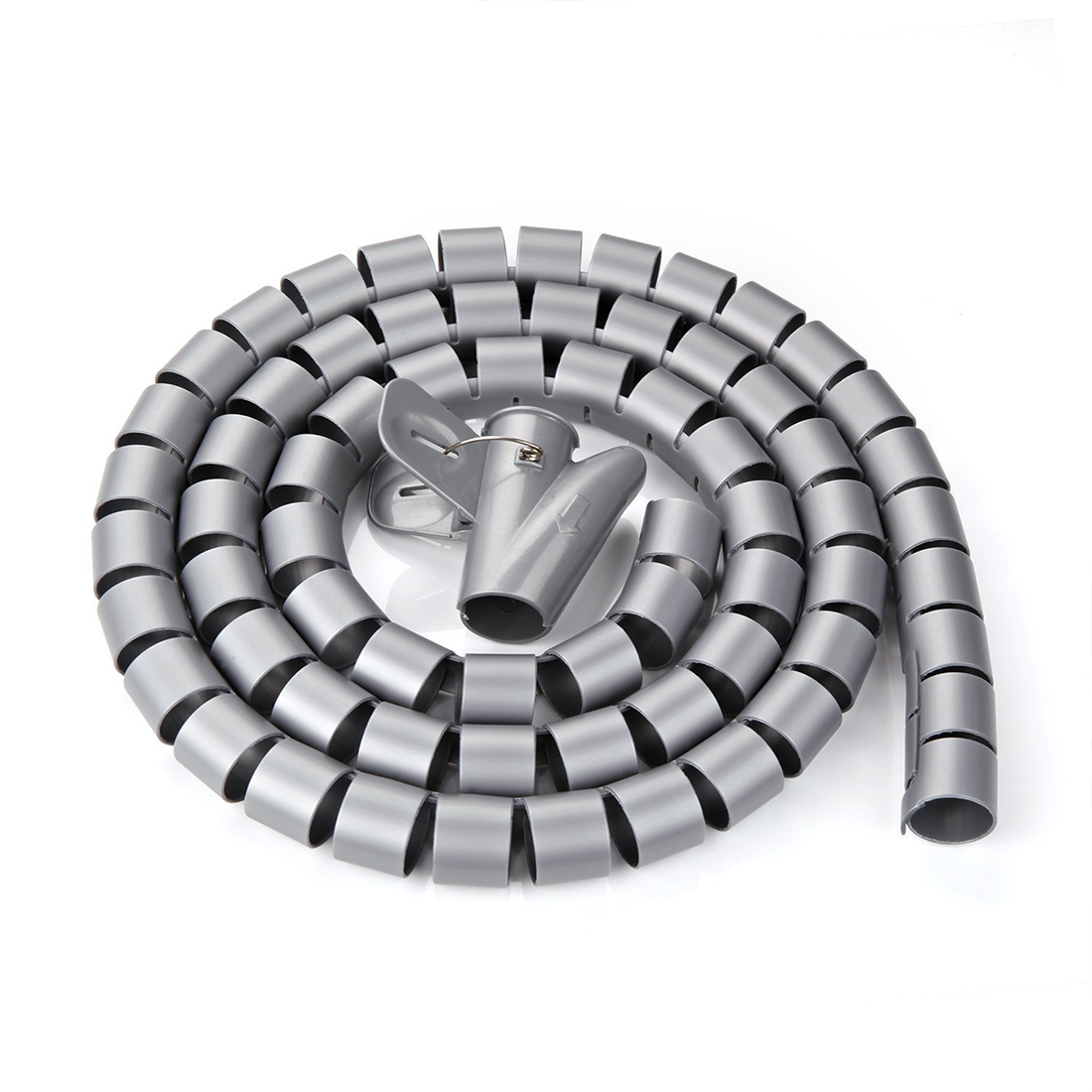 Unique Bargains 15mm Flexible Spiral Tube Cable Wire Wrap Computer Manage Cord Gray 5M w Clip