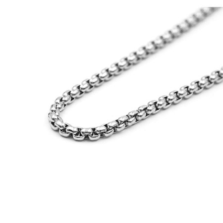 Stainless Steel Silver Smooth Round Box Link Chain Necklace Men 24
