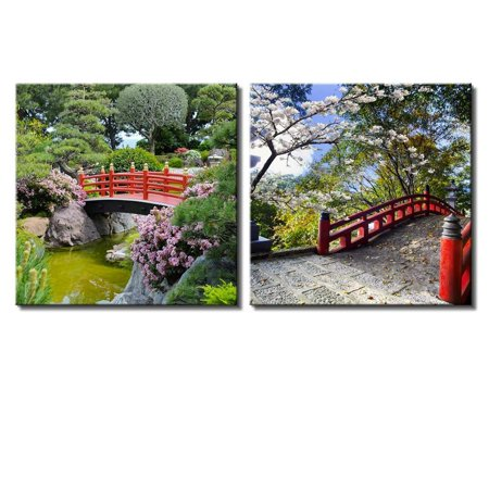 wall26 Two Piece Canvas - Red Bridge Over a Lake Surrounded by Beautiful Trees on 2 Panels - Canvas Art Home Decor - 24x24 inches