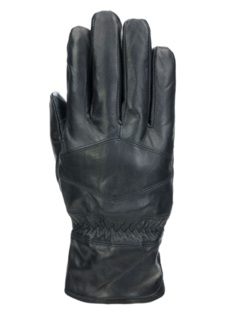 George Mens Sleek Black Leather Gloves with Fleece Lining /& Thinsulate Medium