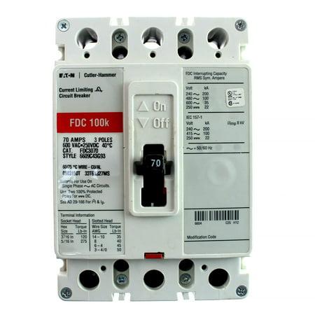 Eaton Cutler Hammer FDC3070 3 Pole 70 Amp 600v Circuit Breaker FDC