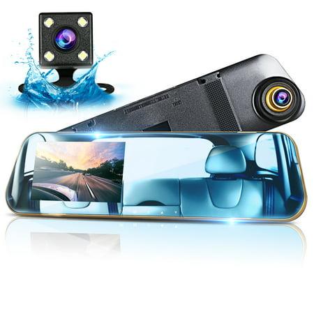 TSV 4.3 Inch LCD Screen Car Camera Rearview Mirror Dash DVR Cam Night Vision Front and Rear Dual Lens Video Recorder Reversing Backup Camera