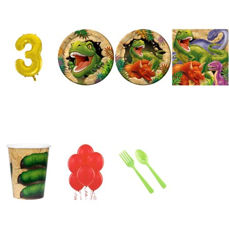 DINOSAUR ADVENTURE PARTY SUPPLIES PARTY PACK FOR 32 WITH GOLD #3 BALLOON (Dinosaur Birthday Party Supplies)