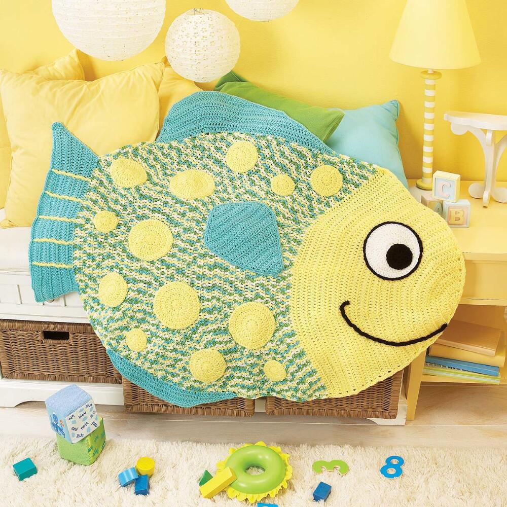 Herrschners  Bubbles Baby Afghan Crochet Afghan Kit