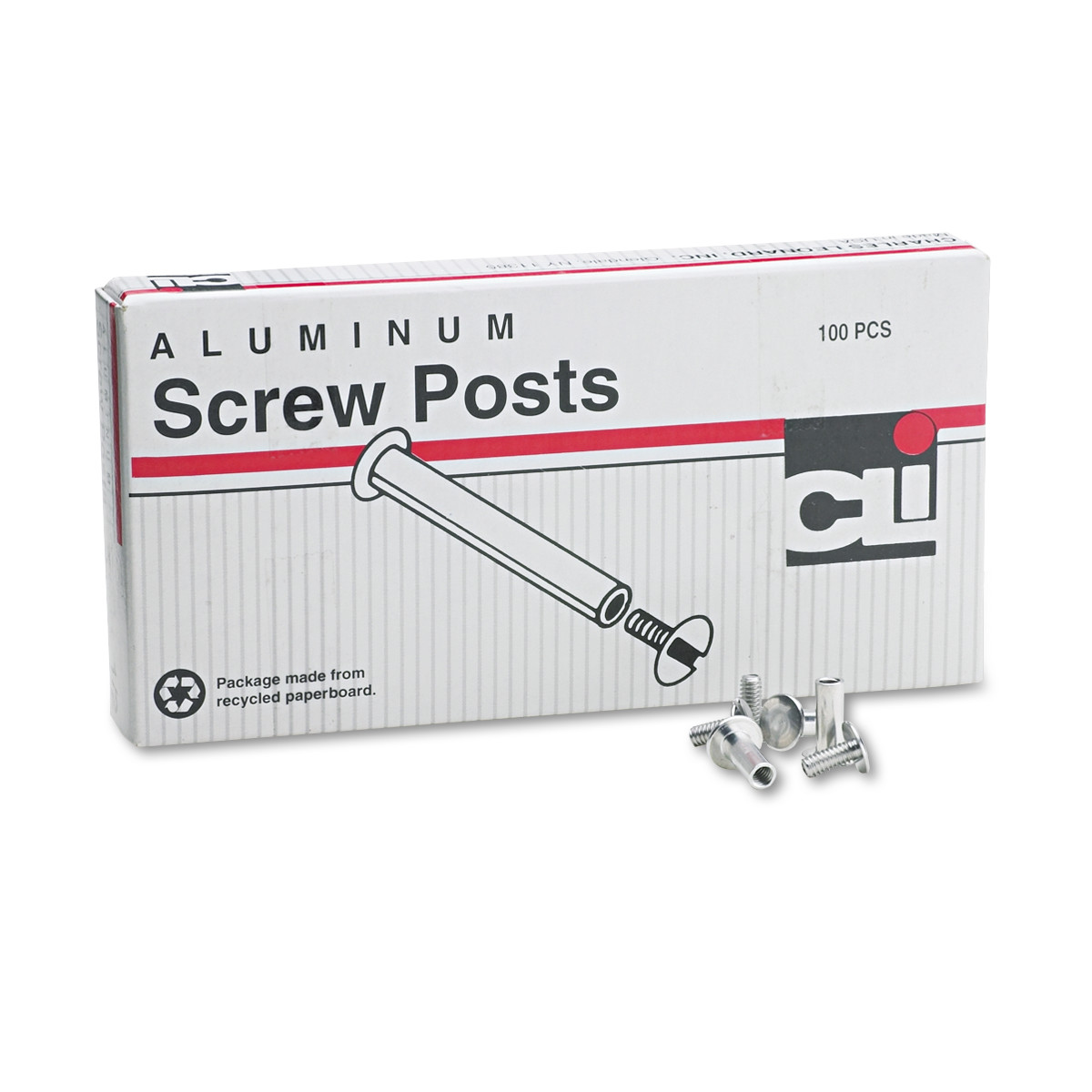 "Charles Leonard Post Binder Aluminum Screw Posts, 3/16"" Diameter, 1/2"" Long, 100/Box -LEO3703L"