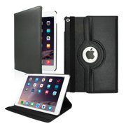 2014 Apple iPad Air 2 360 Degree Rotating Stand Cover PU Leather Swivel Case - Black
