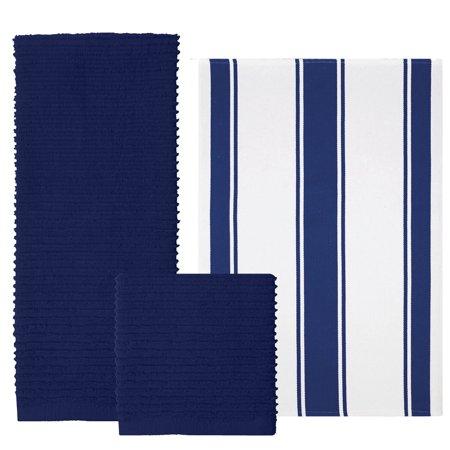 MU Kitchen 9459-1955 Set of 1 Ridged Cotton Dishcloth and 2 Dish Towels,  Blue