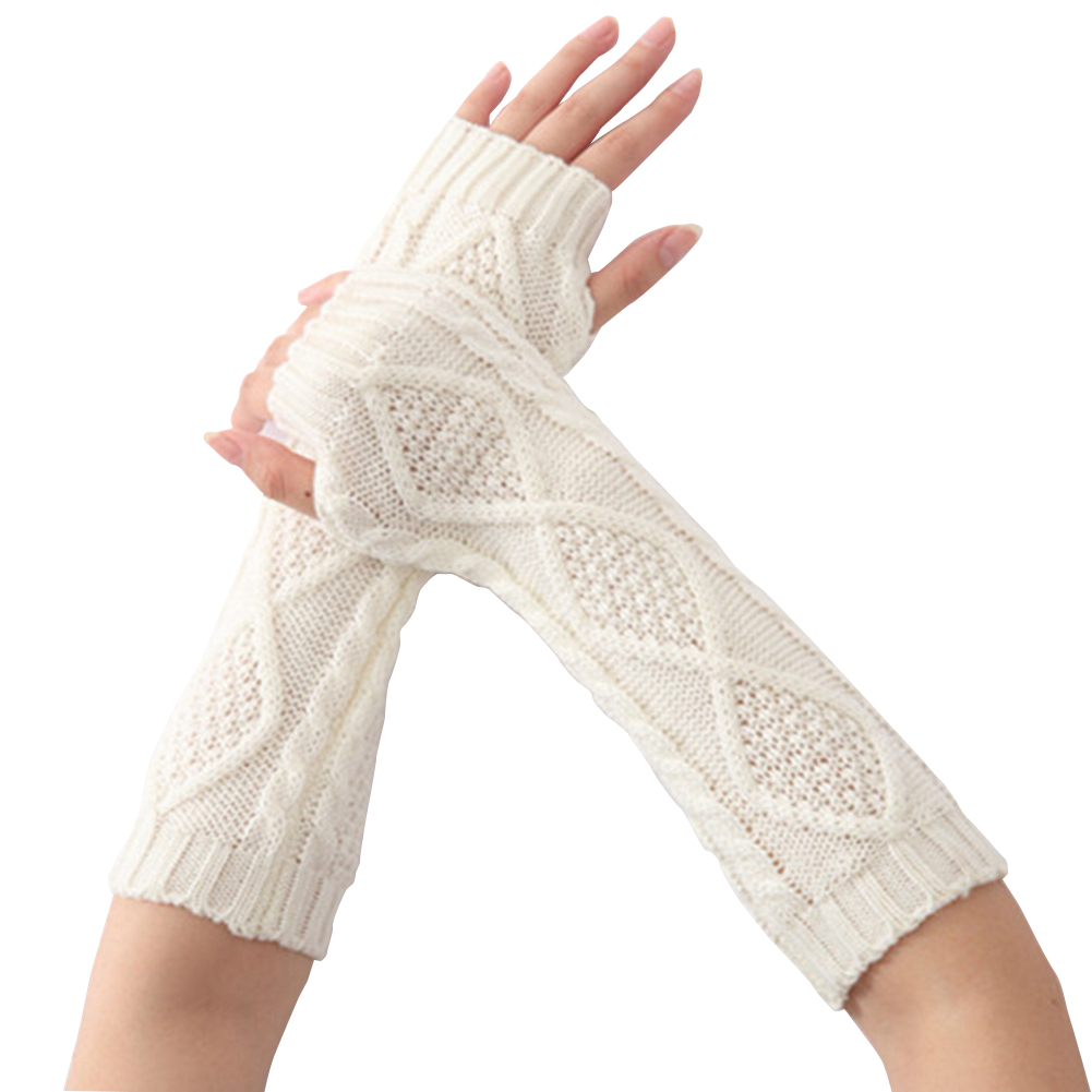 Women Winter Warm Knitted Long Fingerless Gloves Hand Wrist Warmer Mitten