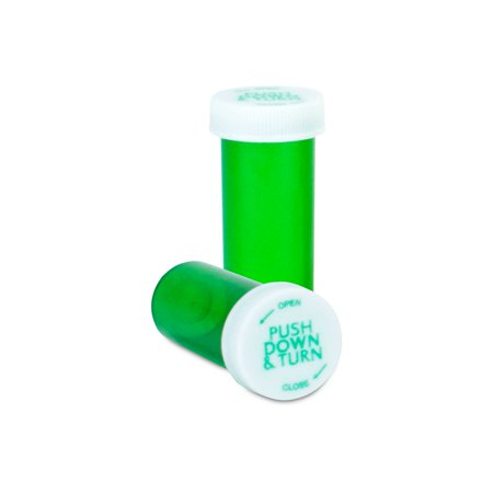 Prescription Safety Cap Vials, 8 Dram, Green, 410/CASE (8 Safety Green)